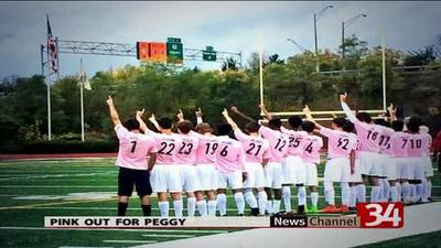 News video: Bing. soccer team wears pink to honor late mother of player